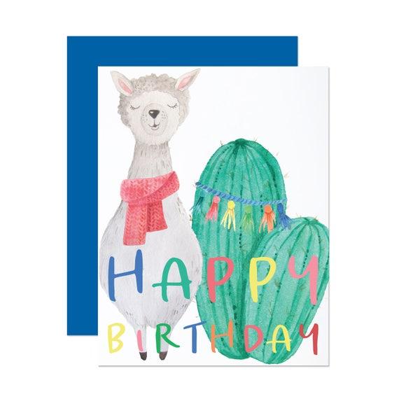 Cheerful Llama - Kid's Birthday Card