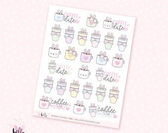Spring COFFEE time - 26 hand-drawn planner stickers