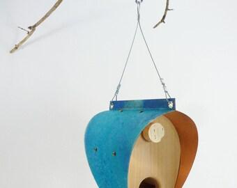 Cuivre oxydé et mangeoire à oiseaux cèdre - Bonnet