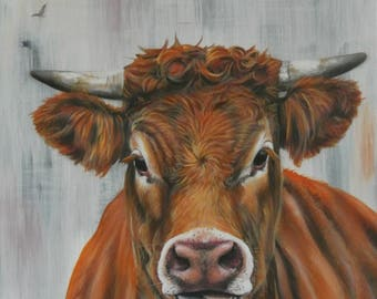 SALE!!! Cow painting, cow art, Ginger cow, farm animal art, cow decor, cow wall hanging, original cow art