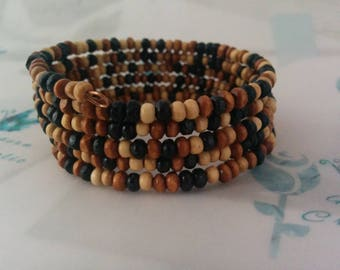 Beaded, Memory Wrap, Unisex, Bracelet, Wooden Beads, Boho, Autumnal, Unique
