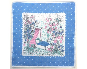 Sleeping Baby in Cradle vintage ladies' handkerchief, hankie, hanky, H48