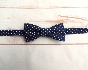 Boys Bow Tie - Wedding Bow Tie - Polka Dot Bowtie - Pre Tied Bow Tie - Baby Bow Tie - Blue Bow Tie - Navy Blue Bowtie