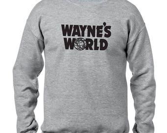 WAYNE'S WORLD logo Crewneck Sweatshirt Garth Algar movie Halloween costume Sweatshirt many sizes available