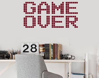 Game Over Vinyl Wall Decal Gaming Art Words Video Games Room Decor Stickers Mural (#2727di)