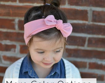 Pink Knotted Bow Headband, Pink, Baby Headwrap, Baby Turban,  Child's Turban, Toddler Headwrap, Adult Turban