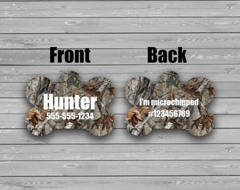 Pet Tags, Personalized Pet Tag, Camo, Hunting, Dog Tag, Custom Tag, Cat Tag, Custom Cat Tag, Accessory, Pet ID Tag, ID Tag, 2 Sided