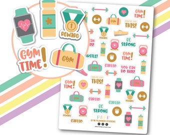 Gold foil gym planner stickers, Gym motivation stickers, Workout stickers, Gym time stickers, Fitness stickers, Exercise stickers