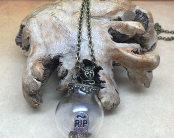 Graveyard - Gothic necklace with tombstone inside a glass orb