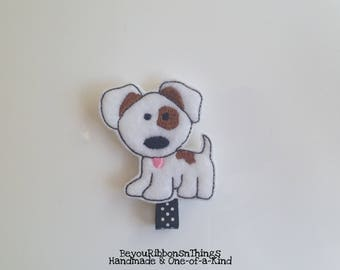 Dog | Hair Clips for Girls | Toddler Barrette | Kids Hair Accessories | Black/White Polka Dots | Felties | No Slip Grip