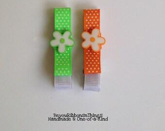 Flowers | Neon Green | Neon Orange | Hair Clips for Girls | Toddler Barrette | Kids Hair Accessories | Grosgrain Ribbon | No Slip Grip