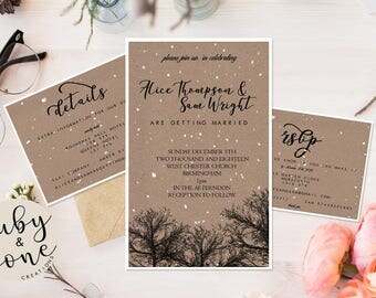 Printable Winter Wedding Suite. Featuring Silhouette Trees and Snow // Invitation, RSVP & Details // Fully Customised // #202