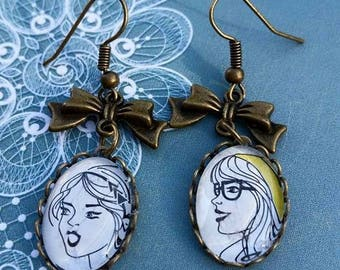 Necklace bronze themed face earrings