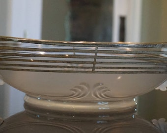 Art Deco Silver Overlay Console Bowl/ Frosted Glass Bowl
