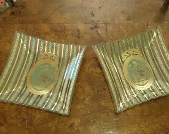 Pair of Vintage Hollywood Regency Bent Glass Trays/Greek Goddess/Green Gold