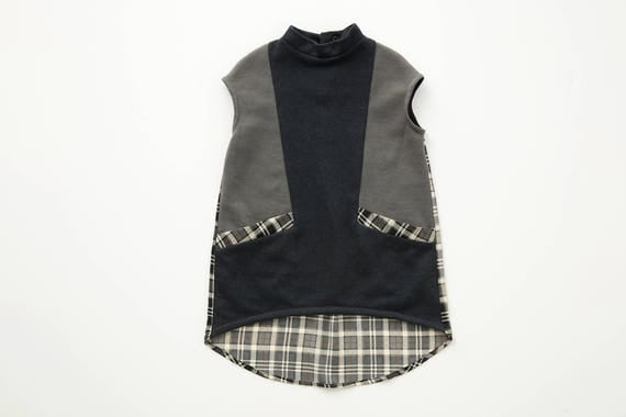 PIED DE CHAT - sleeveless asymetric tunic for kids: girls - navy, grey and plaid print