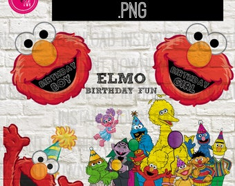Instant Download Sesame Street Elmo Birthday Clipart, Elmo Birthday Clipart, Sesame Street Png File