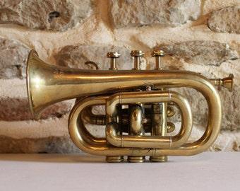 Brass pocket Cornet Trumpet