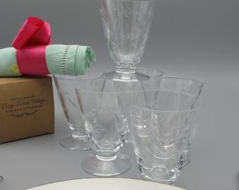 Vintage crystal glasses set, wine crystal glasses, vintage glasses set 6 pieces, french vintage chiseled blown glasses, vintage glassware