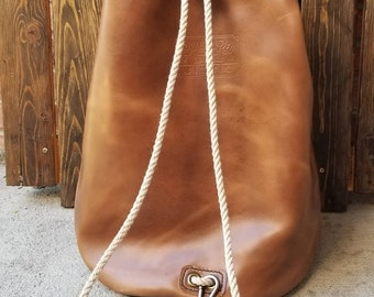 Leather Duffel Bag - Natural Leather Ditty Bag - Leather Sailor's Bag - Handmade Leather Bag - Ready To Ship - Colorado - Horween Chromexcel
