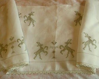 Antique Figural Embroidered Textile