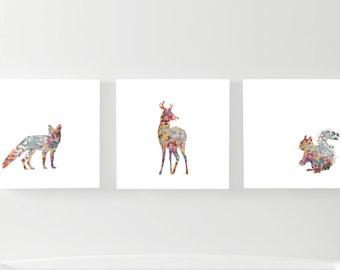 Printable Woodland Animals Wall Art, Nursery Fox Deer Squirrel, Digital Nursery Bundle, Instant Download, Nursery Wall Decor, Animals  Print