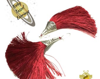 Ruby Red Tassel Earrings, Antique Silver Ended Tassel Earrings, On Trend Earrings, On Trend Party Earring,On Trend Gift, Stylish Gift