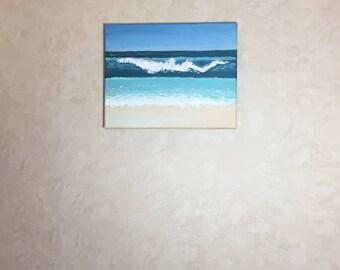 Wave, original acrylic beach painting, 8x10 painting