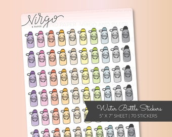 Water Bottle Planner Stickers - Colorful Hand Drawn Water Bottle Doodle Planner Stickers - Workout, Fitness, Hydrate Planner Stickers RWB
