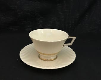 Lenox ''Cretan'' Footed Cup and Saucer Set.  Cup is 2-5/8'' and Saucer is 5-7/8''  (CGP-1025)