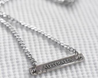 Australian Shilling Banner - Pendant Necklace - Silver