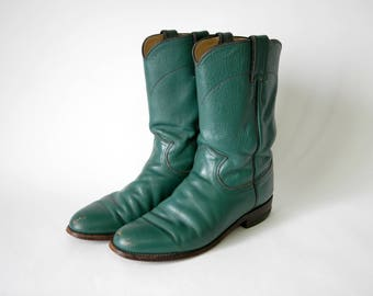80s Green Justin Roper Cowboy Boots - Green Cowgirl Boots - Colored Cowboy Boots - 1980s Western Style Boots - Cowboy Fashion - Size 7 - 7.5