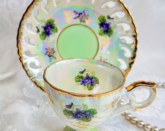 Vintage Japanese HB Lustreware Footed Tea Cup and Saucer Green Purple Floral Japanese Teacup and saucer Pierced Porcelain Shabby Chic