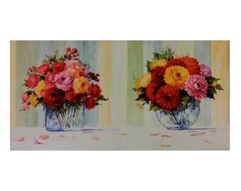 Set of 2 - Vintage 12x12 Botanical Art Prints, Striped Floral I and II by Paul McGowan, Unframed Floral Art Prints, Vintage Botanical Art