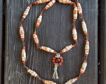 Orange Paper Beads Necklace with Orange Hemp Flower Pendant, Paper Bead Chain Link Necklace, paper Bead necklace, Orange Chain link necklace