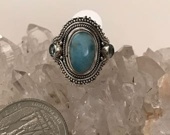 Larimar and Blue Topaz Ring Size 6 1/2