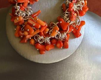 Orange Coral Chunky Charms Bracelet, Size 7