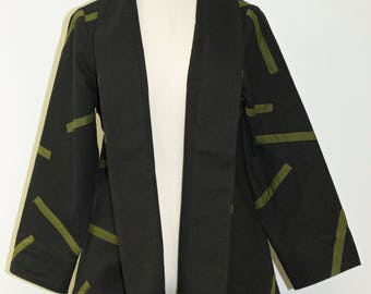 Black Cotton Jacket w/ Green Detail - FA16-4822