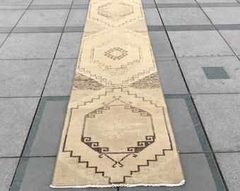 Turkish handmade Rug Runner/Vintage Rug Runner/Area Rug Runner/Bohemian Rug Runner/Aztec Rug Runner/Oushak Rug Runner/2'5X10'9Feet/77X333Cm