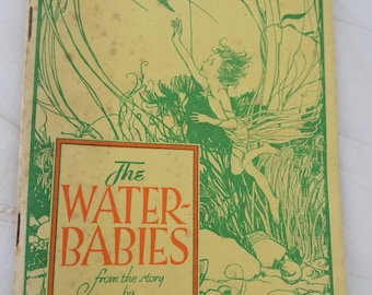 Vintage Book from the 1940s The Water Babies by Charles Kingsley Free Shipping Illustrated Childrens' Booklet Art Noveau Drawings