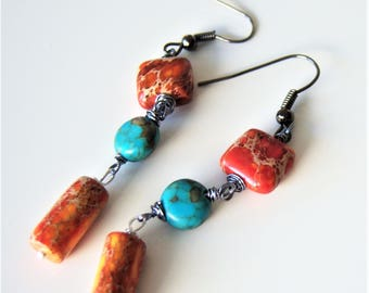 Orange and turquoise mosaic Jasper earrings