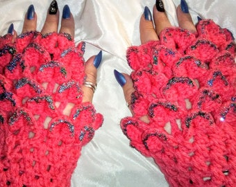 Dragon Scale Finger-less Gloves Sparkly Scales Pretty Pink Women's