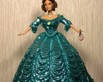 Barbie dress Barbie clothes Barbie gown Handmade crochet sequins Jeweled Cotillion Costume 1858 Gift for her Barbie sequins