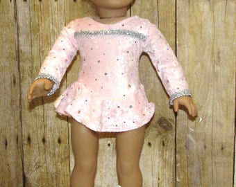 Pink Velvet Ice Skating Outfit for American Girl and Other 18 in Dolls