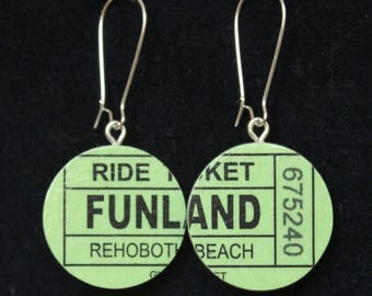 Rehoboth Beach Funland Ticket Handmade Recycled Paper Earrings