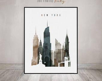New York art print, watercolor poster, New York skyline, Travel Wall art, NYC, city art, wall decor, wall prints, Gift, ArtFilesVicky