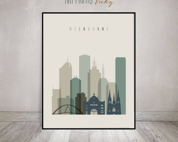 Melbourne art print, Poster, Melbourne skyline, Travel decor, Wall art, Gift, Australia, City print, Home Decor, ArtPrintsVicky