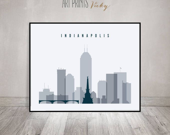 Indianapolis skyline art print, Poster, Wall art, Indiana art, City poster, Travel decor, Typography art, Digital Print, ArtPrintsVicky