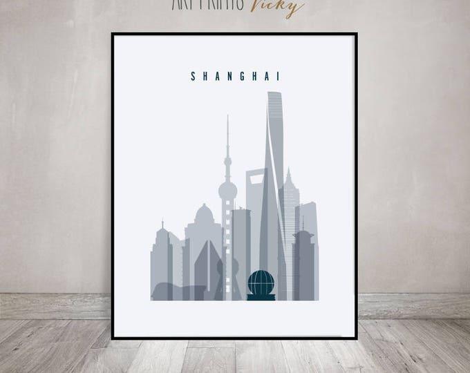 Shanghai skyline art print, Shanghai Poster, Travel Wall art, China, City poster, Wall Decor, Typography art, Home Decor, ArtPrintsVicky