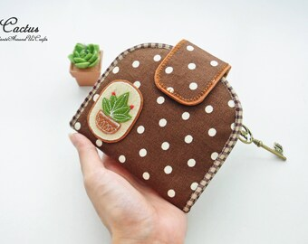 Cactus Lovers Card Holder Wallet-Brown, Bi-fold Wallet, Organizer Wallet, Keychain Wallet, Fold Over Wallet, Change Purse, Gift for Her
